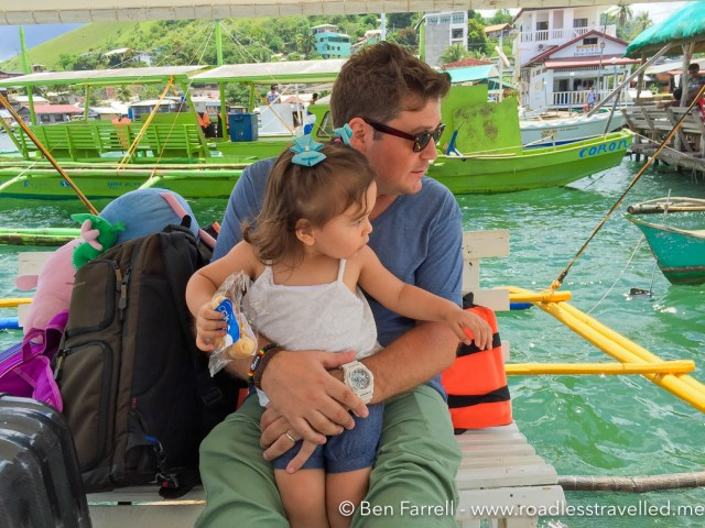 Lilly and I on the small boat to Discover Island.