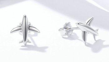 d6596102d 100% Pure 925 Sterling Silver Minimalist Simple Airplane Stud Earrings