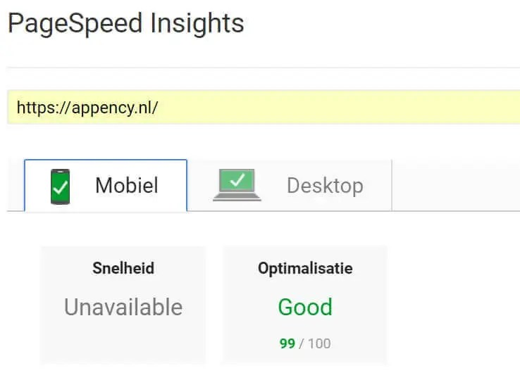 Pagespeed appency