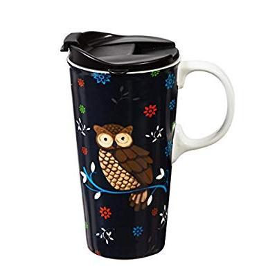 Designer Coffee Art Travel Lidded Mugs Cool Ceramic MugRoad BoxedCr