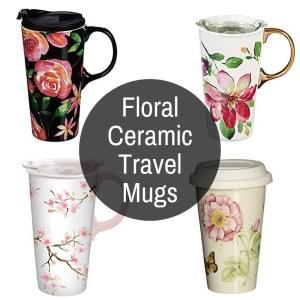 Flowers On Ceramic Travel Mugs