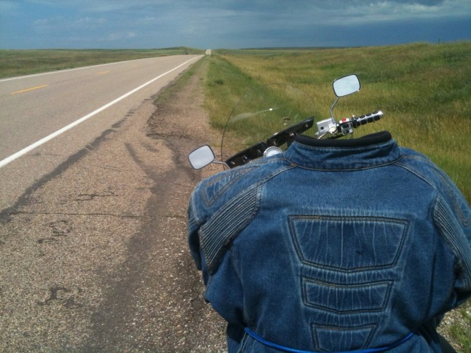 Long road with jacket strapped