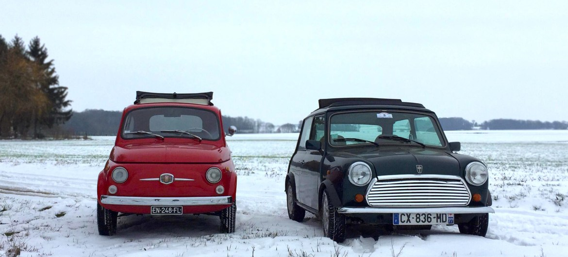 Austin Mini Vs Fiat 500 Which One Is The Most Suited To Skiing