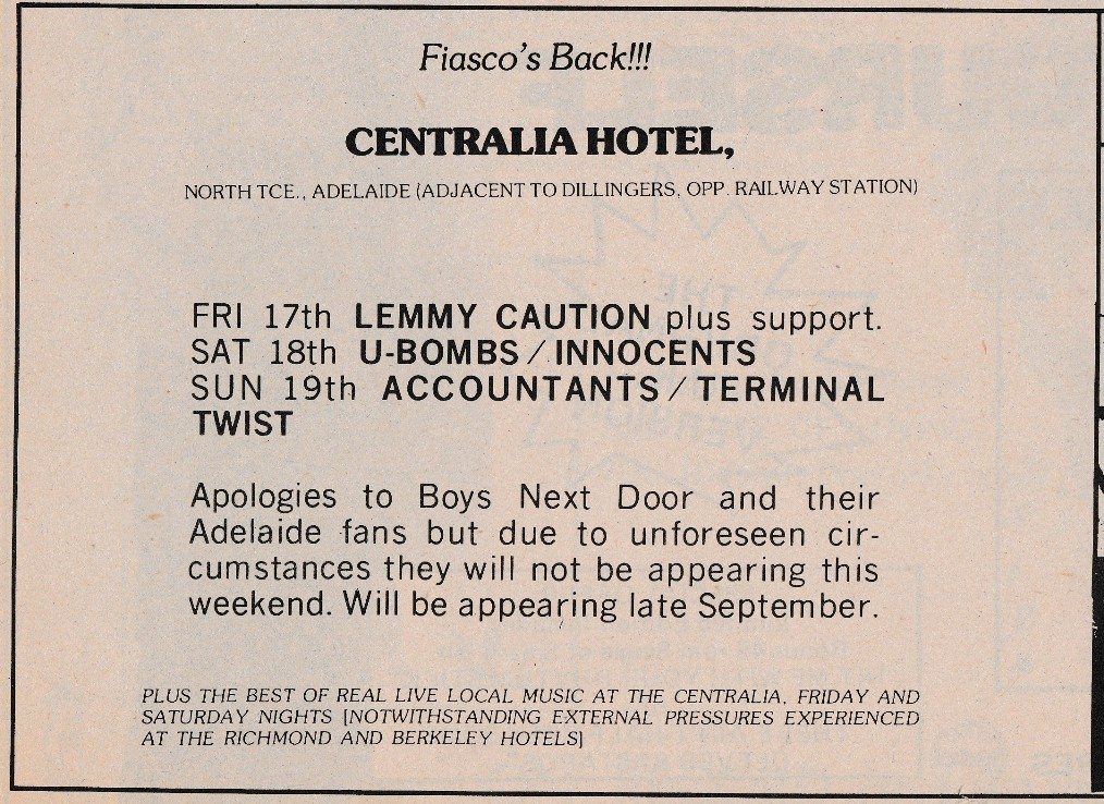 Centralia Hotel August line-up