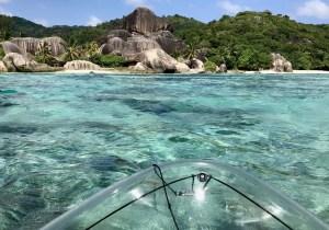 Durchsichtiges Kajak Seychellen |Crystal Kajak Tour auf La Digue 11
