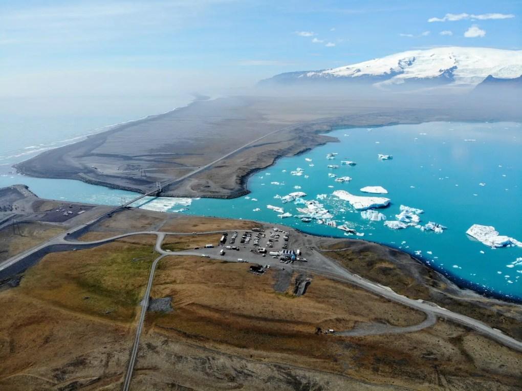 Jökulsárlón Gletscherlagune Island per Drohne