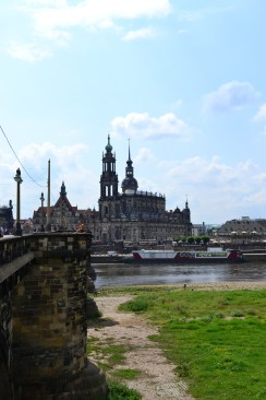 Dresden Cathedral and the River Elbe in Dresden