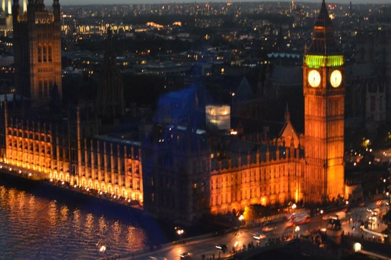 View of Palace of Westminster and Big Ben from the London Eye