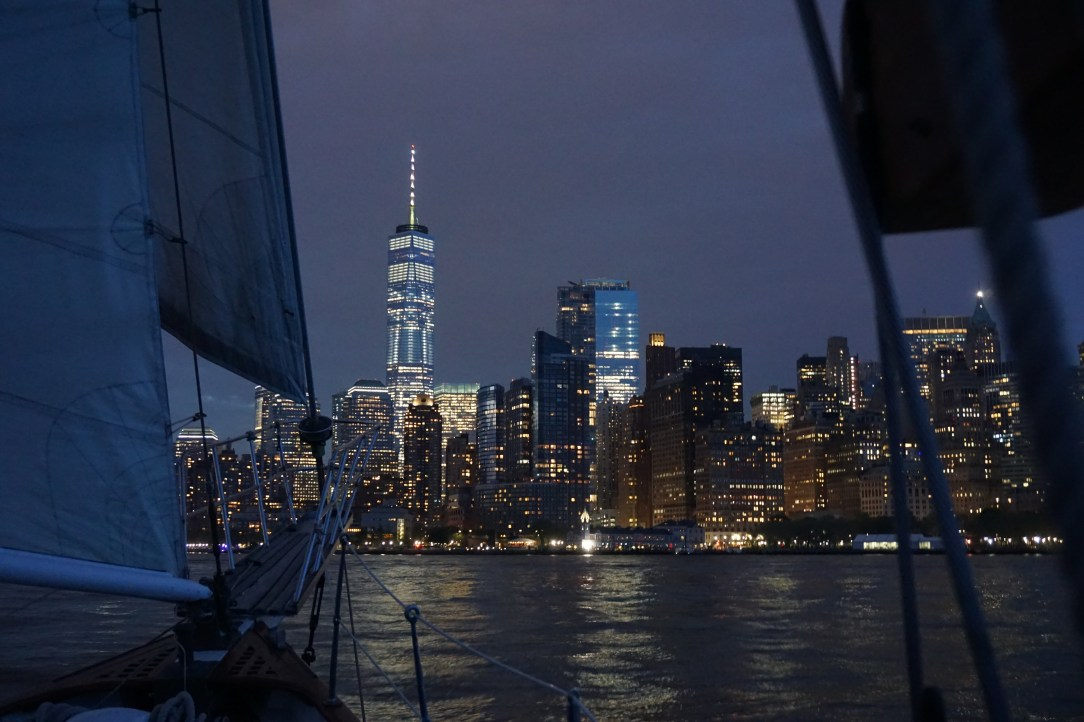 Sailing towards Manhattan on the Shearwater Classic Schooner