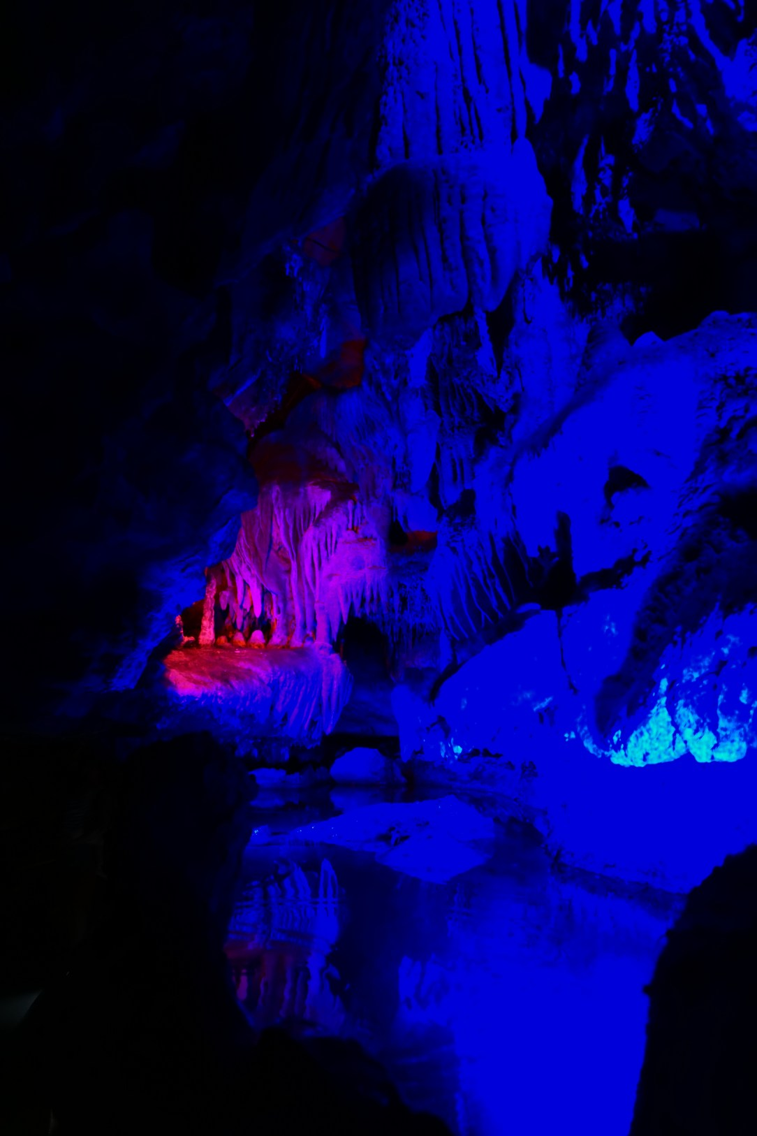 Blue and pink light effects in Ruby Falls Lookout Mountain