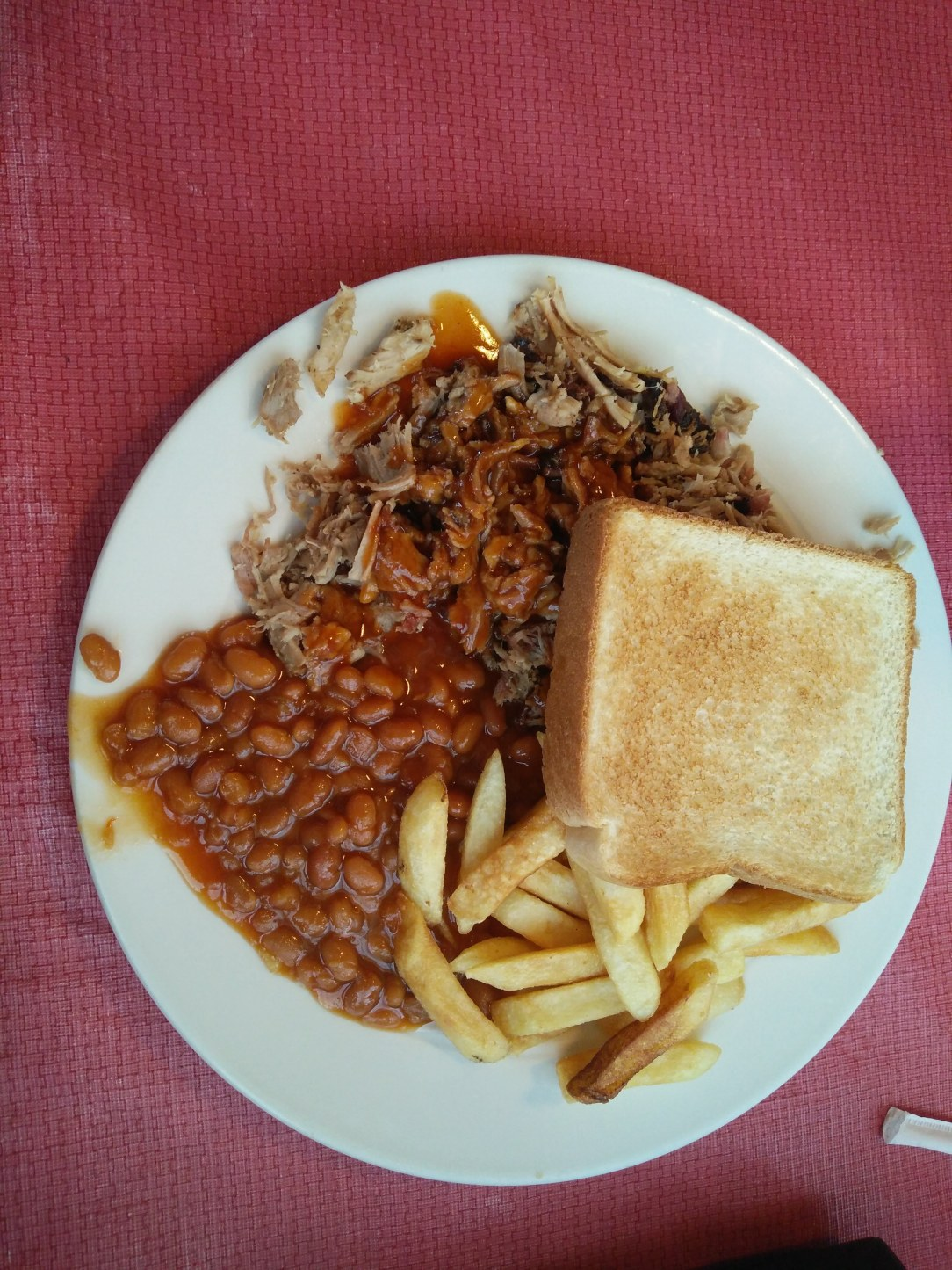 Hickory Pit chopped pork plate with beans, fries and Texas toast, in Chattanooga Tennessee