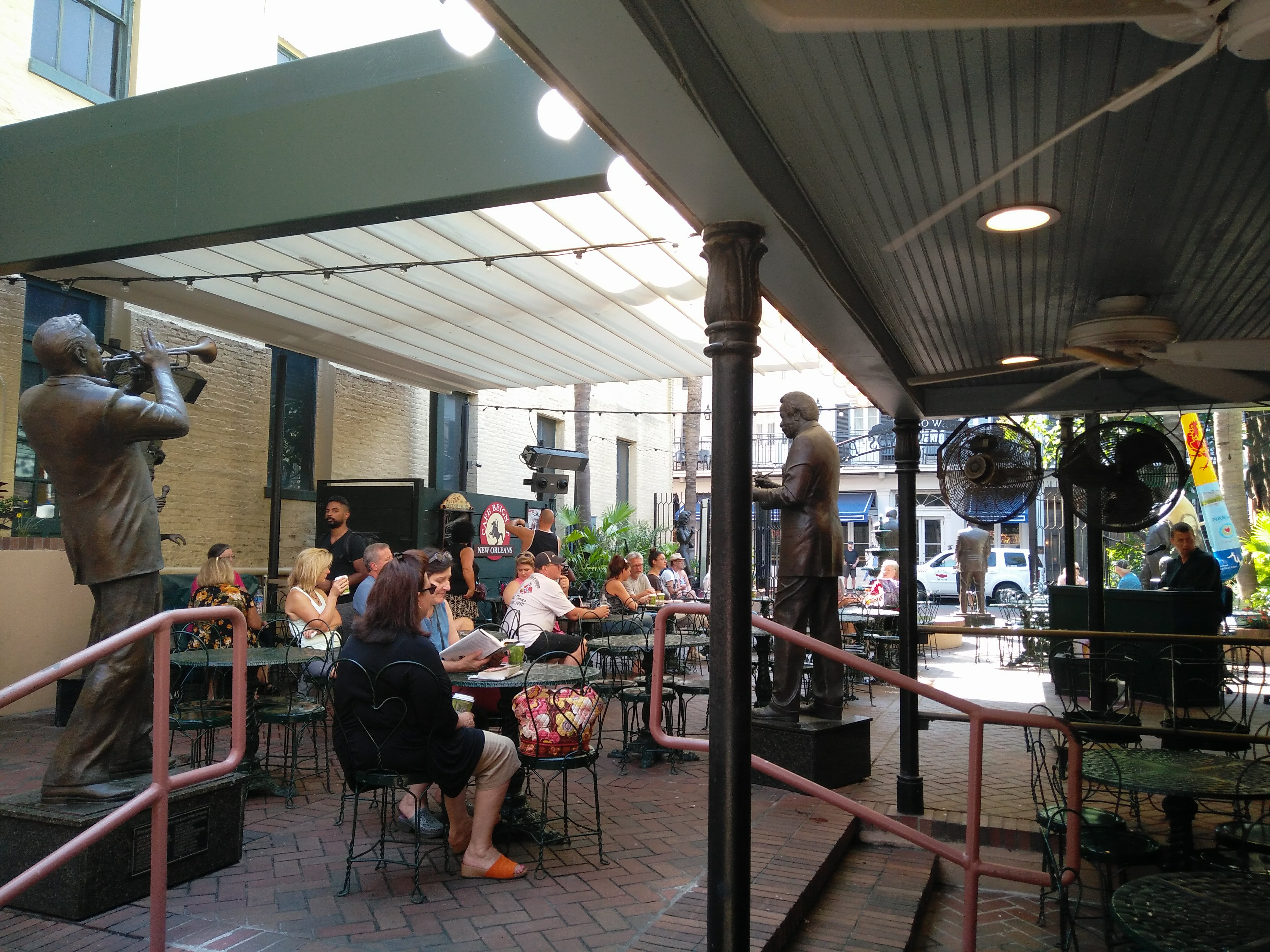 Seating area for Cafe Beignet on Bourbon Street