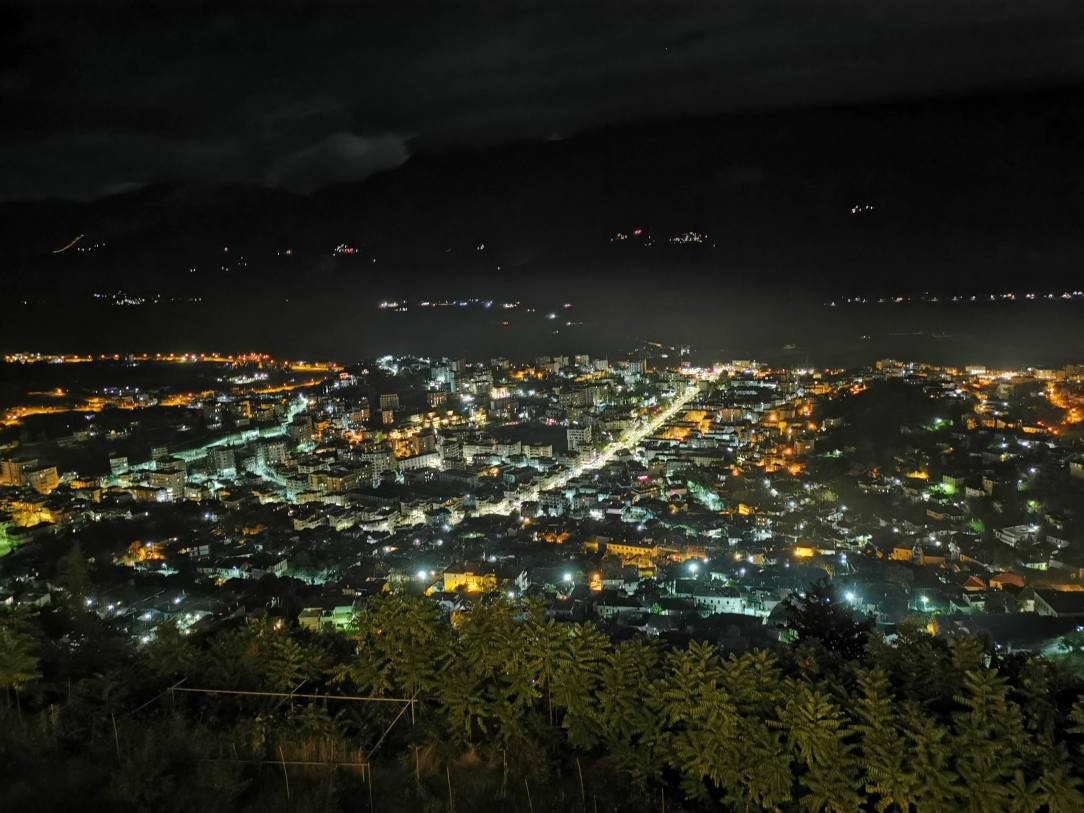 Gjirokaster panoramic view by night