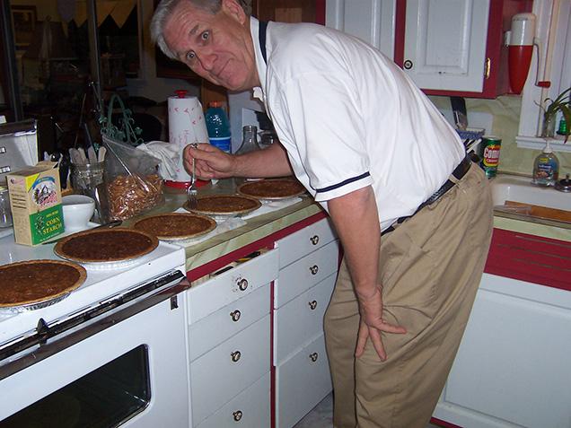 Dad sampling pecan pies