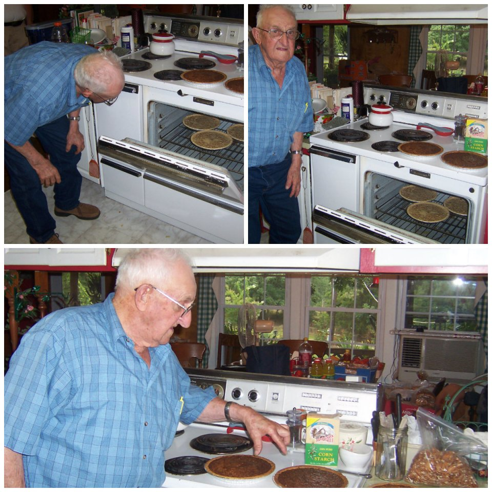 Uncle Lawton baking pecan pies.