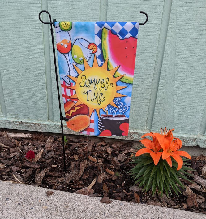 Summer Time garden flag with tiger lilies