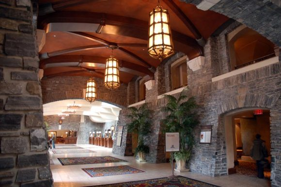 Main lobby at the Fairmont Banff Springs Hotel