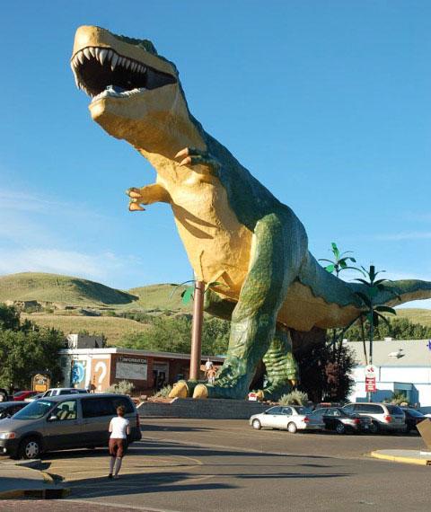 T-Rex dinosaur mascot in Drumheller, Alberta