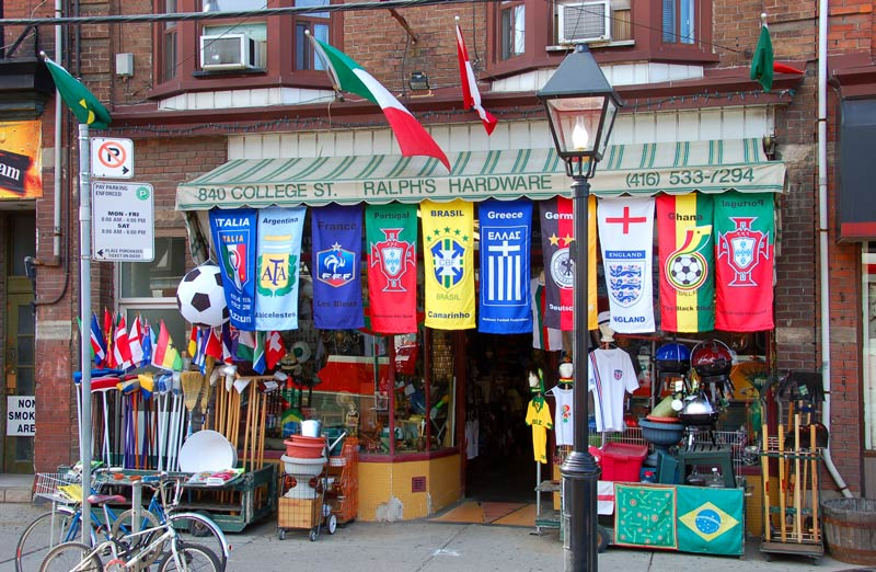 Toronto hardware store displaying world flags