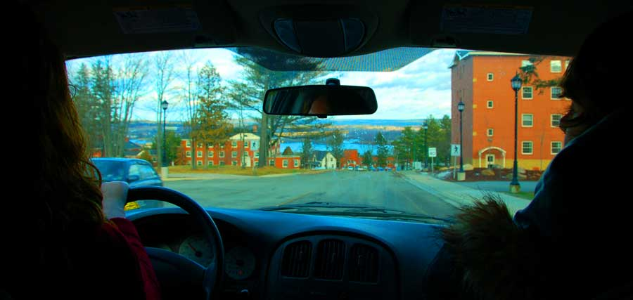 view through car window