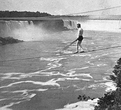 Stephen Peer crossing the Niagara Falls on a tightwire, 1887