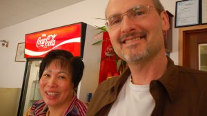 Lilly and Glenn at Wong's Golden Chinese Restaurant, Foremost, Alberta