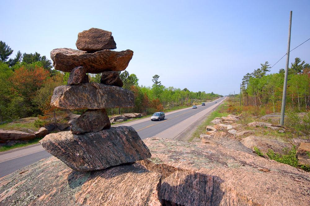 Inukshuk on a road in Ontario