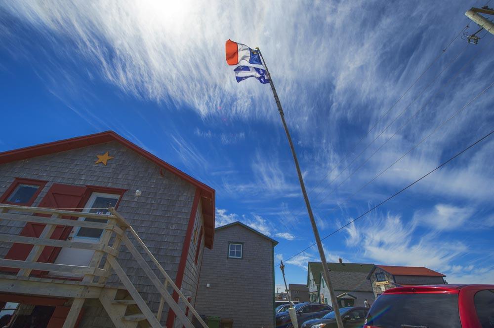 flags in the village of La Grave on the Îles de la Madeleine