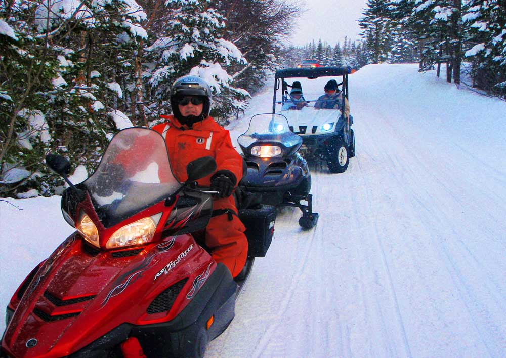 snow machines at Newfoundland T'Railway Provincial Park