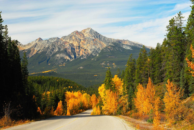 Maligne Lake Road overlooking Pyramid Mountain, Jasper National Park, Canada