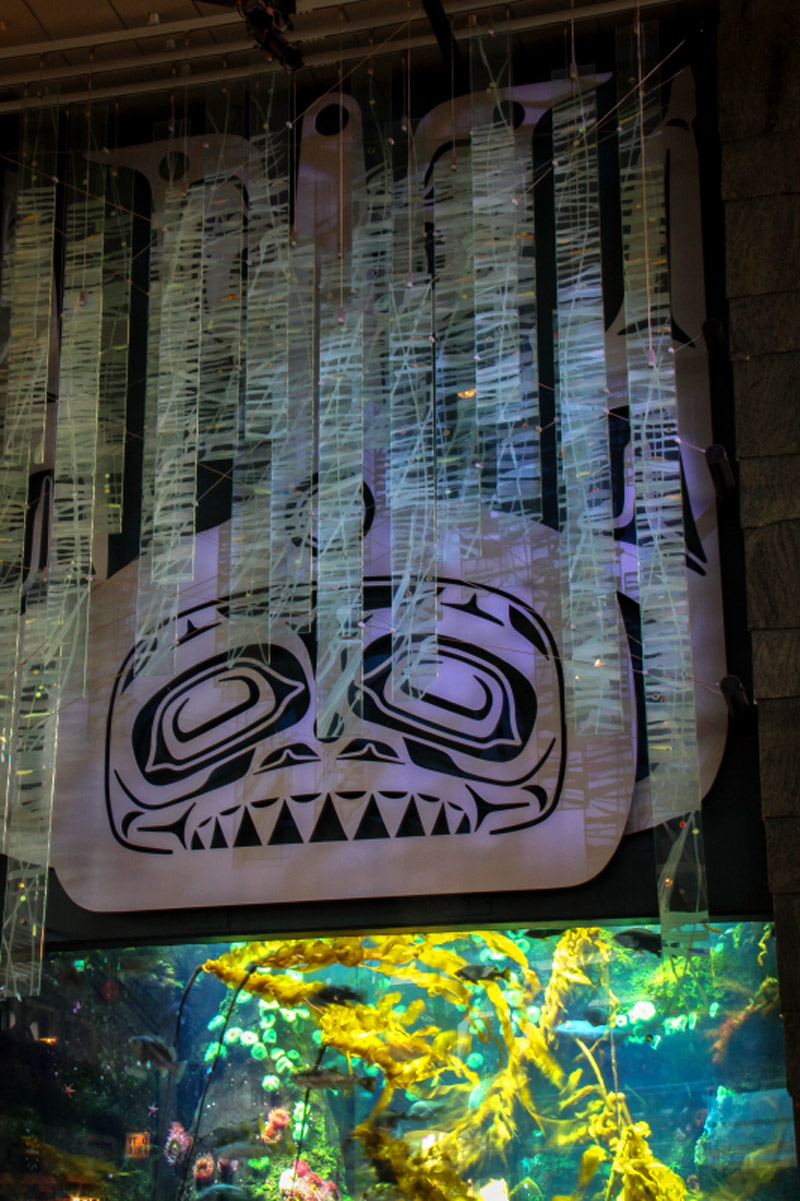 Abode of the Orca Chief art at YVR by Lyle Wilson