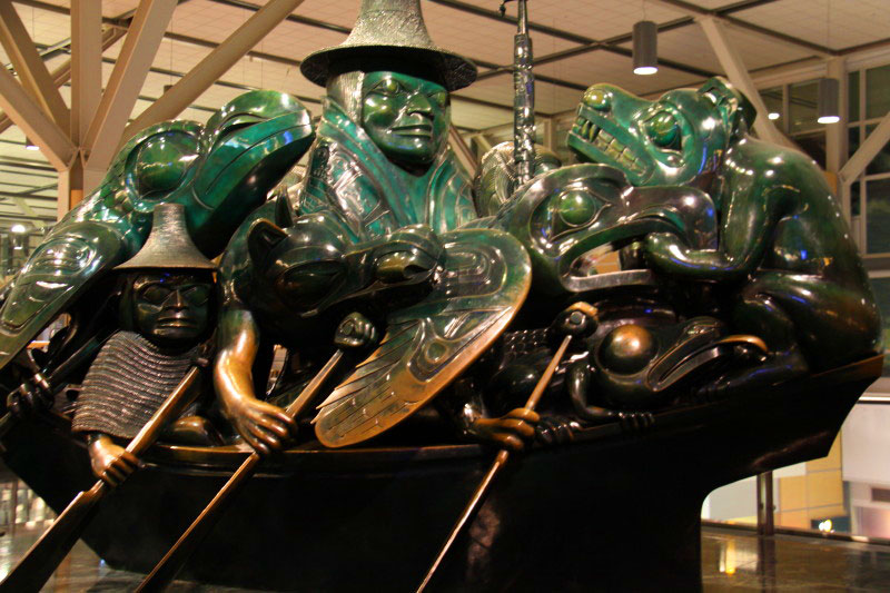 The Jade Canoe art at YVR by Bill Reid