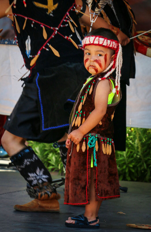 A young boy from the Esquimalt Singers & Dancers