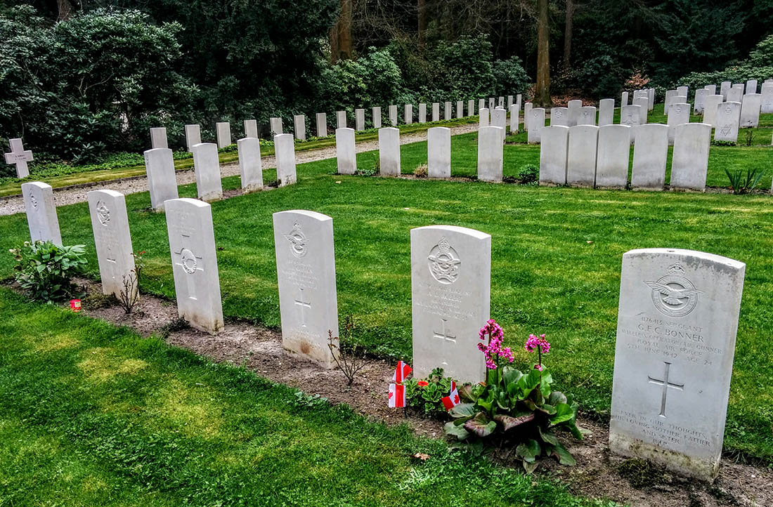 Gravesite of Flight Sgt Allan D Robert and his aircrew in Amersfoort Netherlands