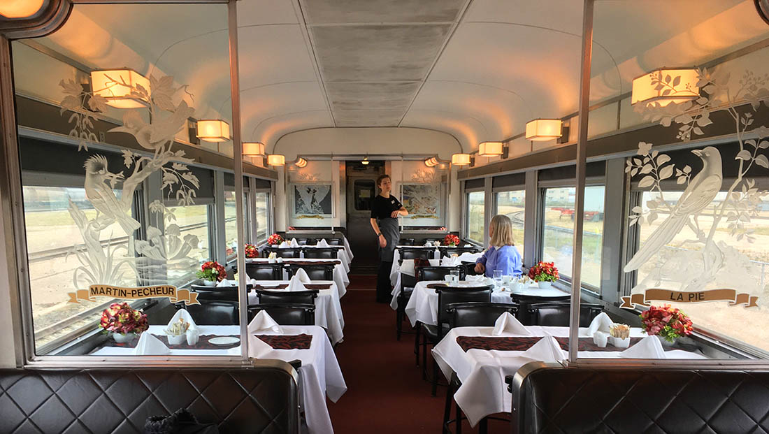 VIA Rail dining room Canada by train
