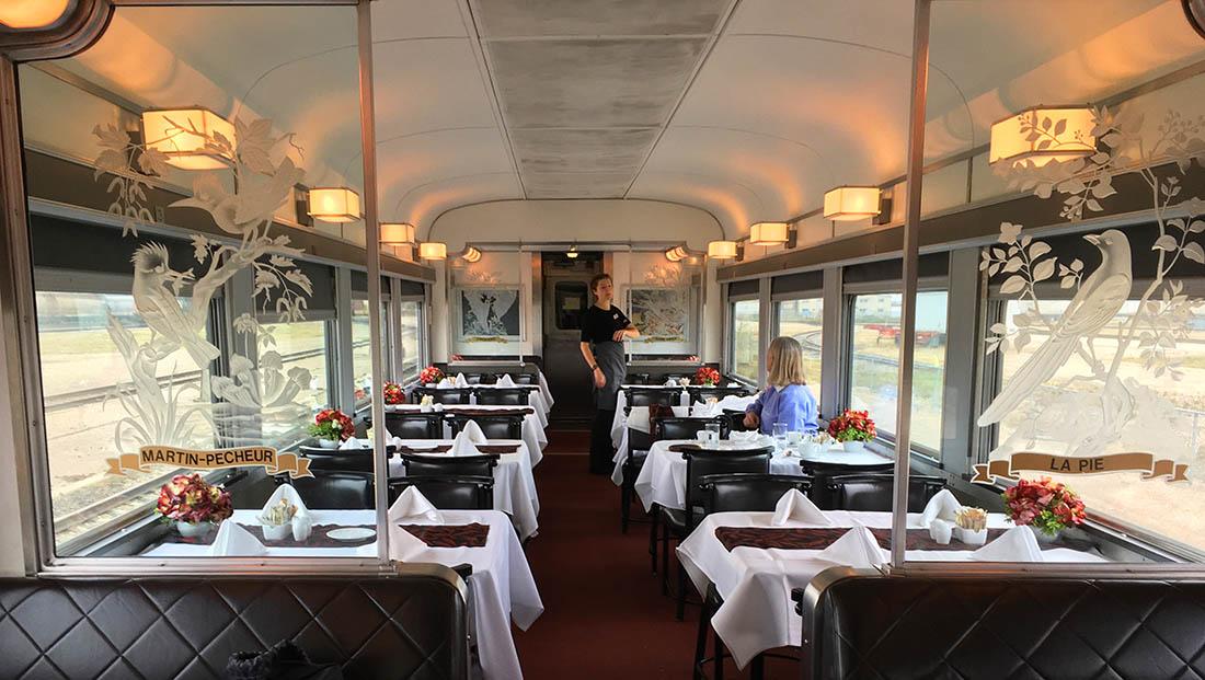 VIA Rail dining room Canada by train