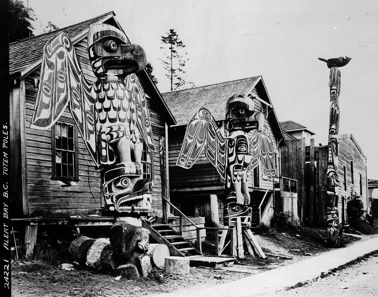 Alert Bay BC totem poles circa 1910