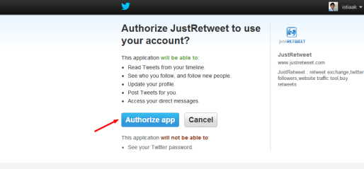 JustRetweet Authorize an application
