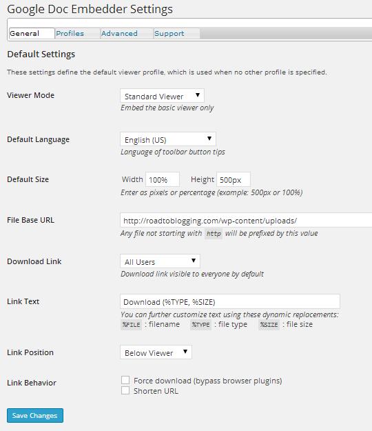 Google Doc Embedder Settings