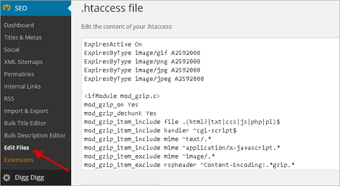 Yoast htaccess Edit