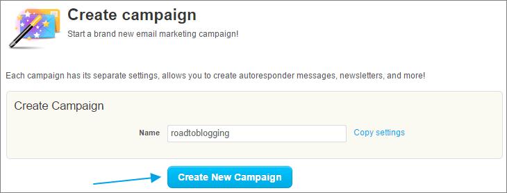 Getresponse create new campaign