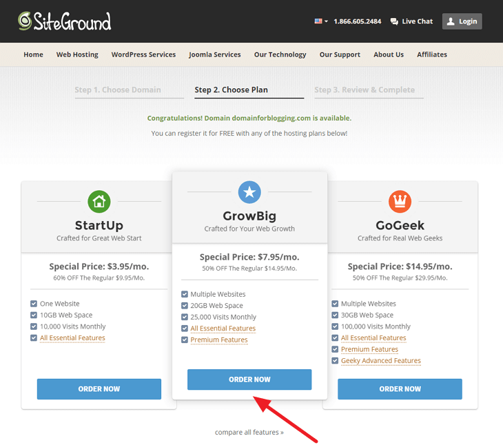 SiteGround Web Hosting Plan