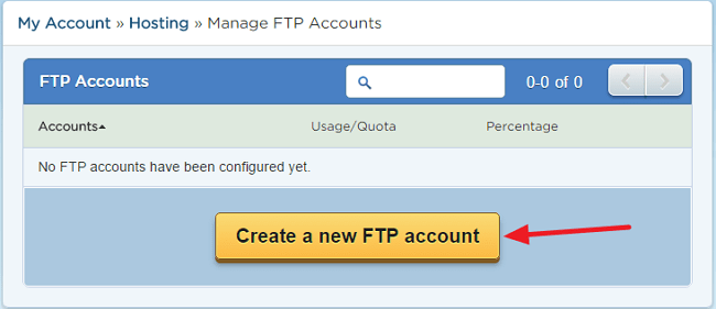Create a new FTP account