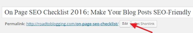 Editing Post URL