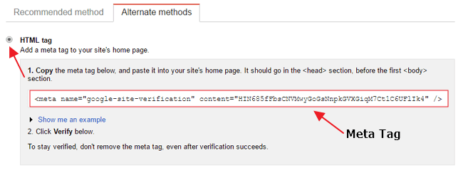 Search Console Meta tag