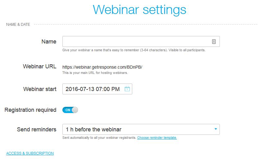 Webinar Setting
