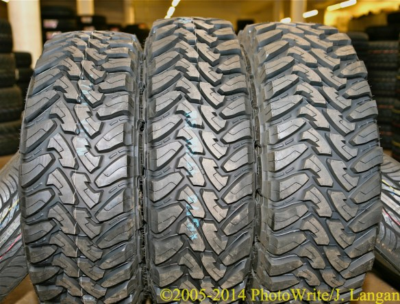 Toyo M/T tires, new, unmounted, left-to-right: LT265/75R16E, LT255/85R16E, LT285/75R16E