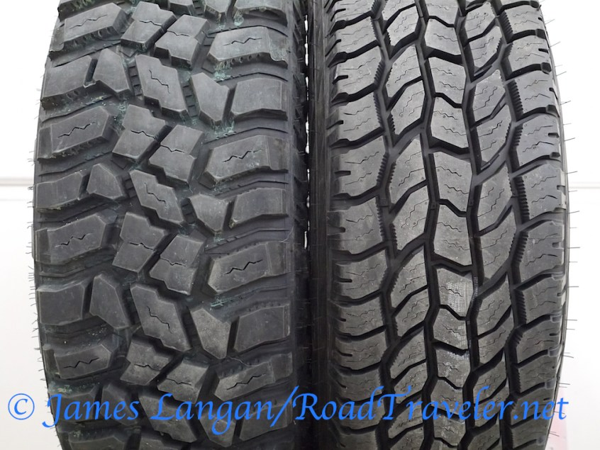 Comparing Cooper's high-void, 295/70R18E STT PRO mudder to the the 285/75R18E A/T3. Both sizes support 4,080# each at 80 psi.
