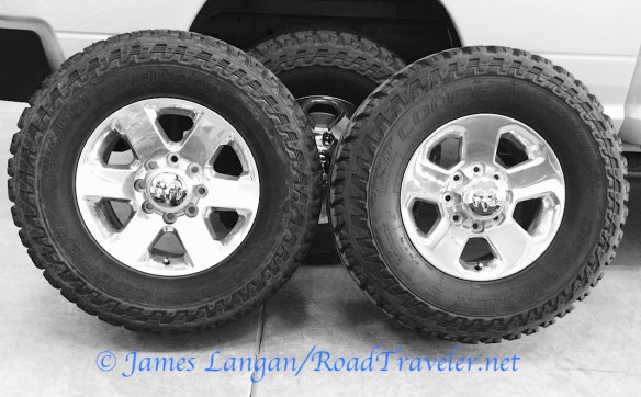 Cooper Discoverer S/T MAXX. Left 295/70R18 Right 285/75R17. Both 34-inches tall.