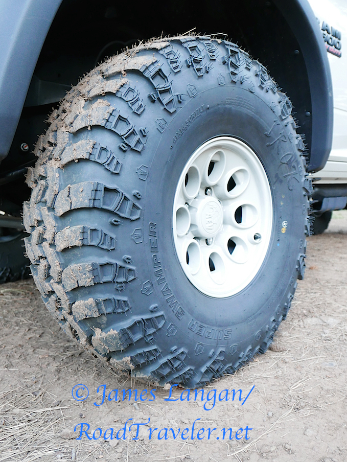 """Huge 41"""" Super Swamper singles replaced the OE DRW setup, 4.30 gears and ARB lockers are in the differentials."""
